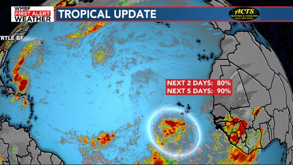 The chance of development remains high with a low pressure system moving west through the...