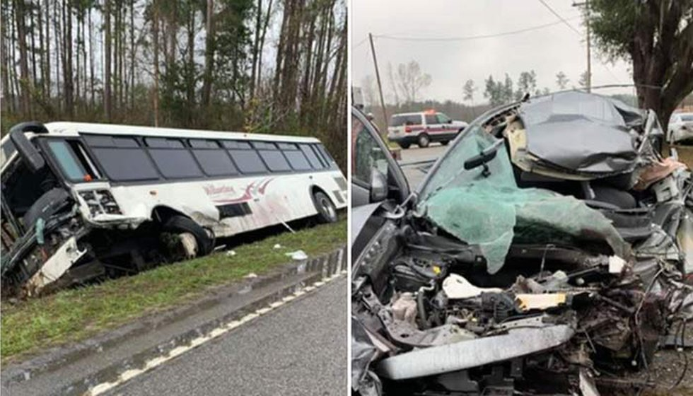 A crash between a Williamsburg County Transit bus and a car on Browns Ferry Road sent 24 to the...