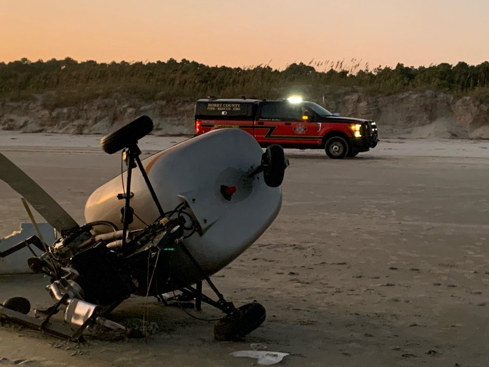 Horry County Fire Rescue crews responded to a small helicopter crash on Waties Island near...