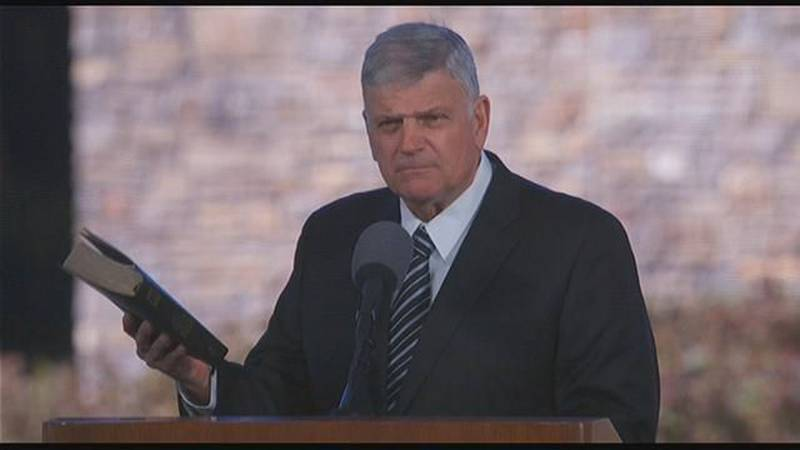 The Rev. Franklin Graham delivers the message at his father's funeral in Charlotte. (Source:...