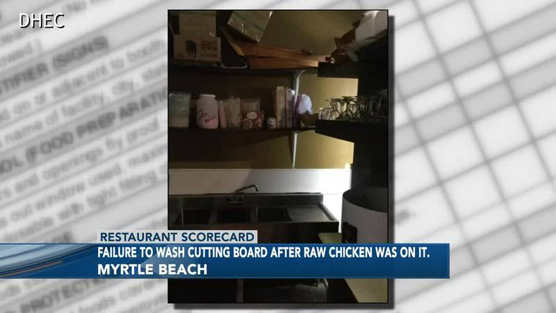 Inspectors say a cutting board at one area restaurant wasn't washed after raw chicken was on it.