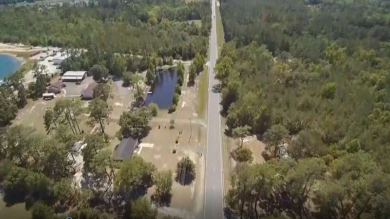 An aerial view of Highway 90 shows how far some homes are setback from the road.