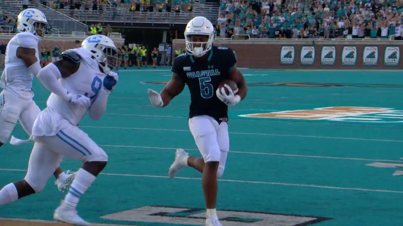 Coastal Carolina running back Shermani Jones runs for a touchdown during the Chanticleers' win...