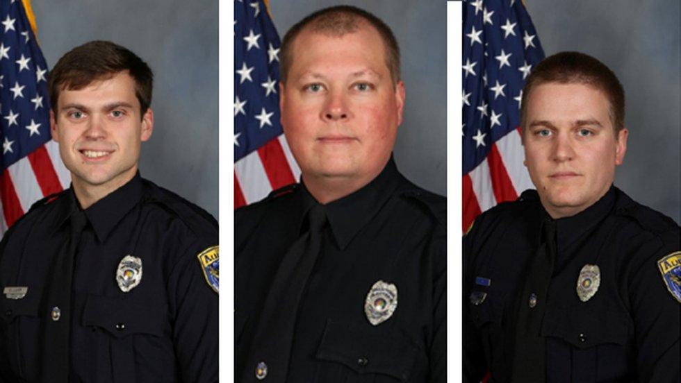 Officer Evan Elliott (left); Officer William Buechner (middle); and Officer Webb Sistrunk (right)