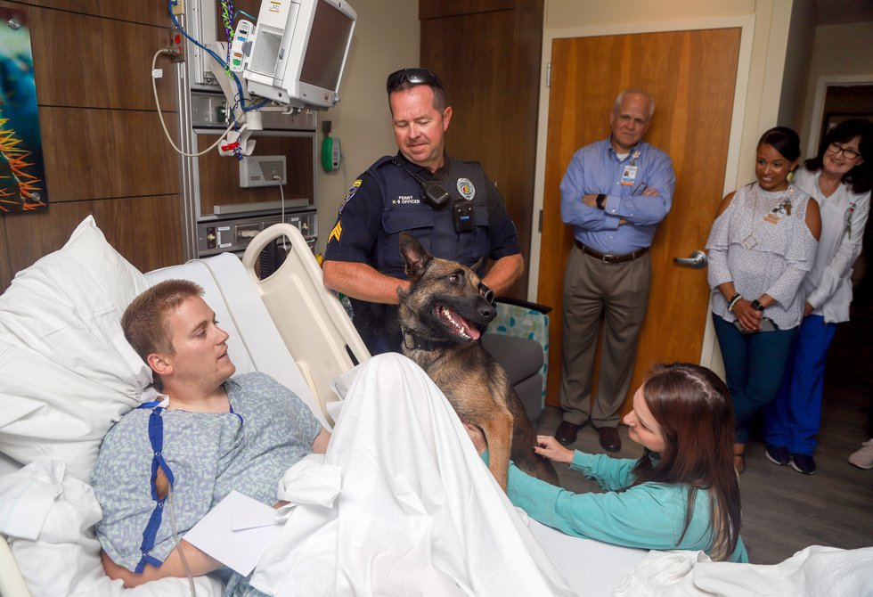 Family, fellow officers and hospital staff arranged for injured Auburn Police Officer Webb...
