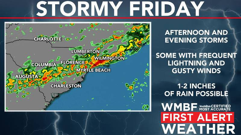 Showers and storms return Friday.