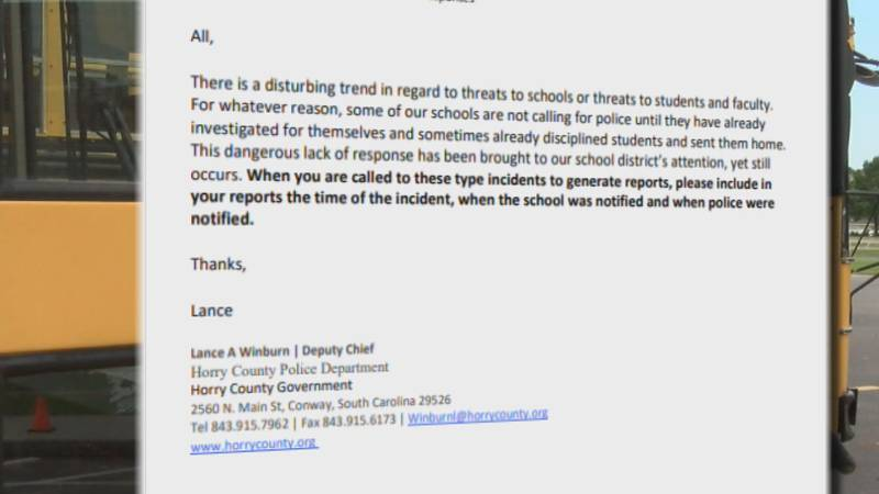 Horry County Police Deputy Chief Lance Winburn sent an email to county police Wednesday...