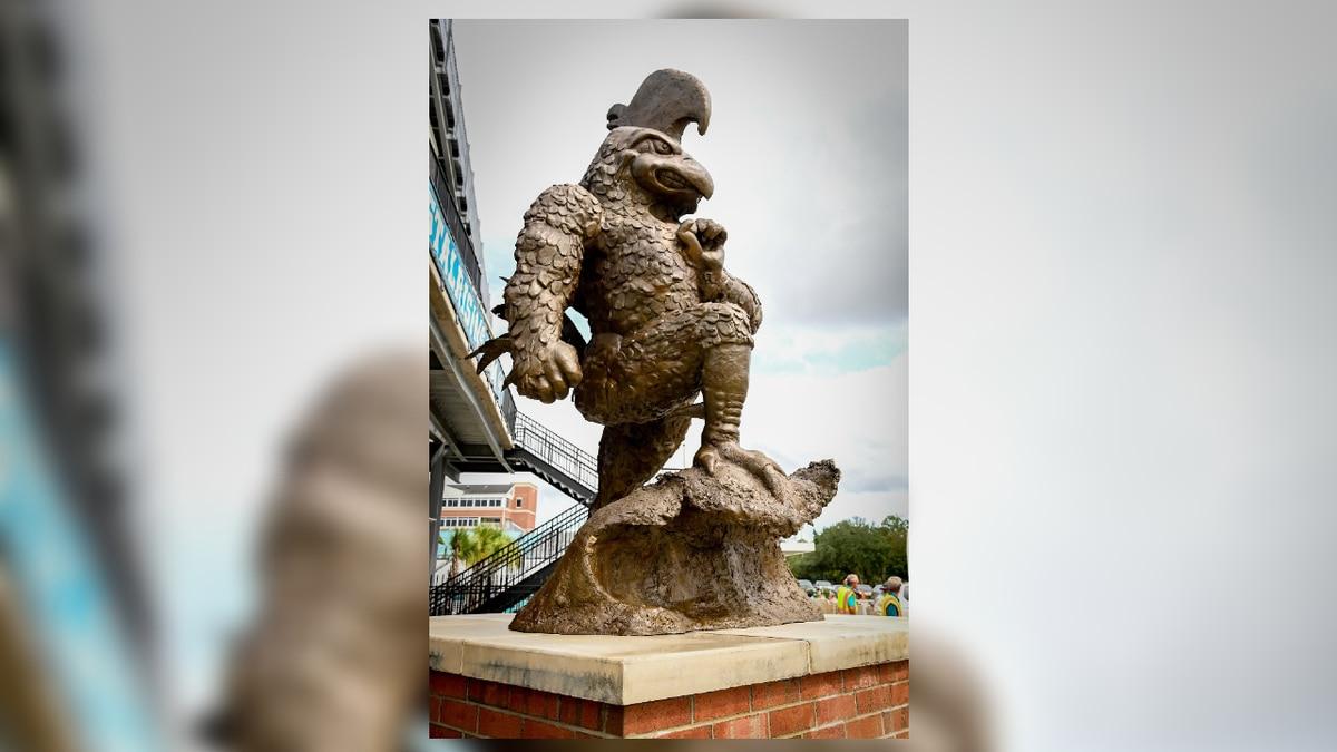 Coastal Carolina University's newest statue stands just outside Brooks Stadium.