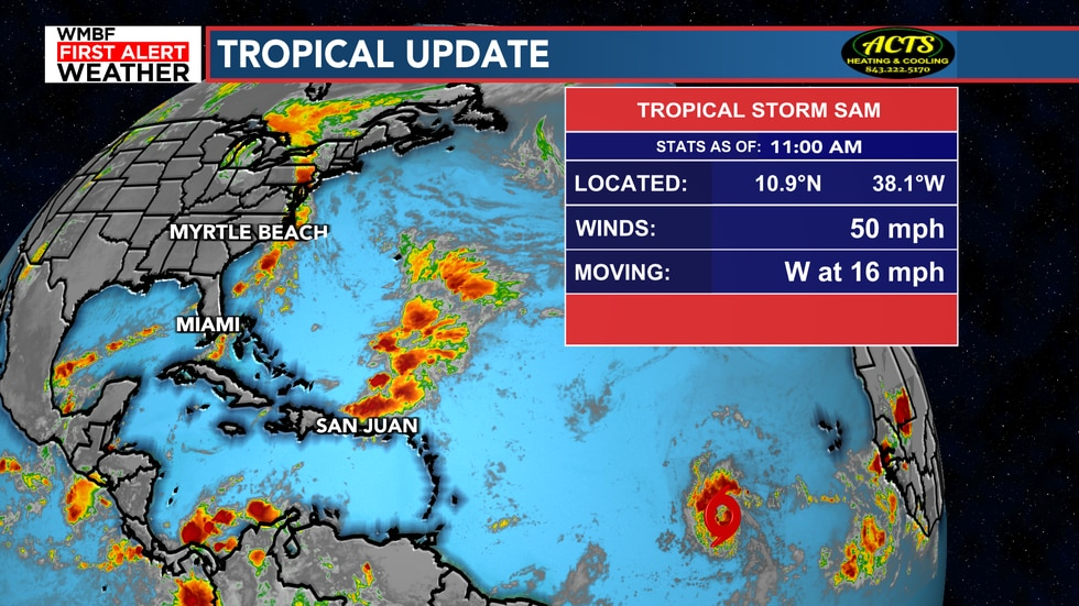 Tropical Storm Sam forms in the Atlantic.
