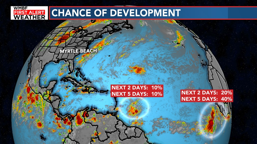 The best chance of development is with a cluster of storms coming off the coast of Africa.