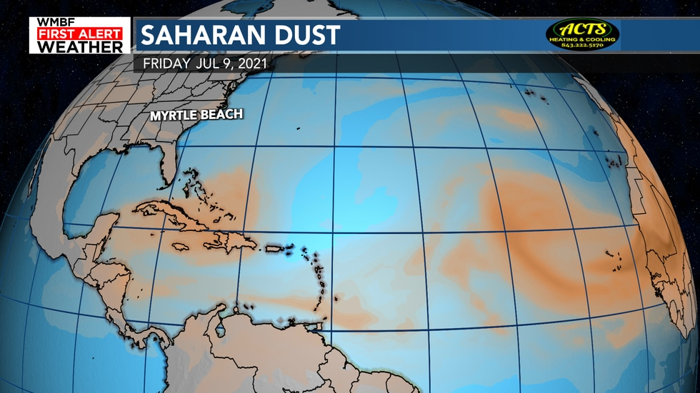 Multiple plumes of dust will continue to work through the Atlantic.