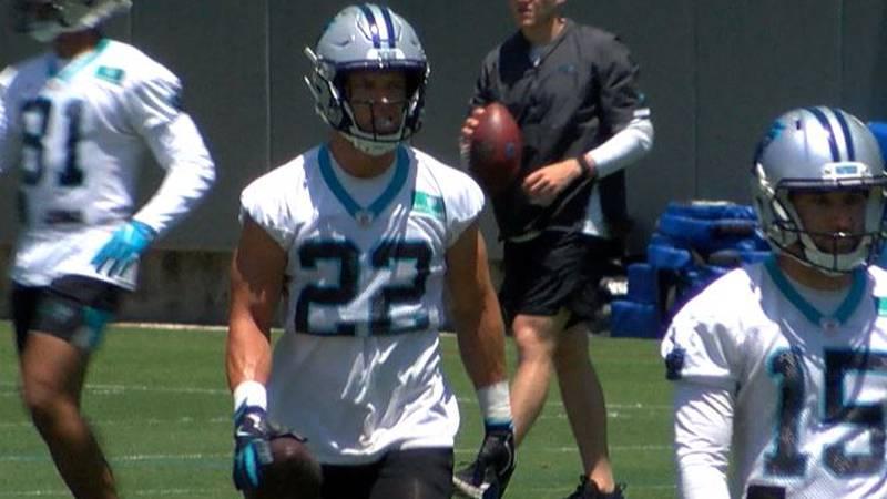 Carolina Panthers running back Christian McCaffrey at mandatory minicamp on Wednesday