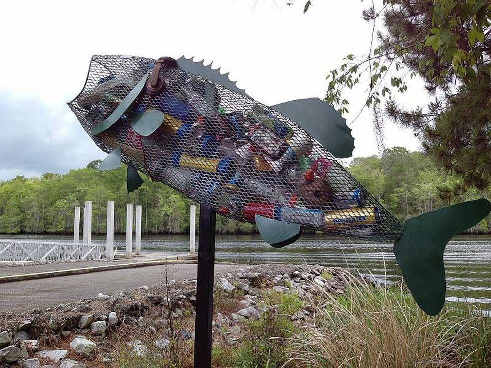 Image of the fish statue after is was stolen and vandalized. Source: HCPD