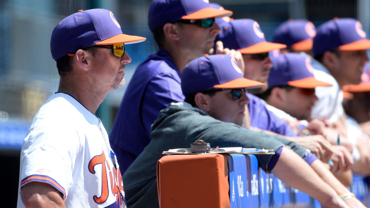 Clemson head coach Monte Lee watches the game during game one of the 2019 ACC Baseball...
