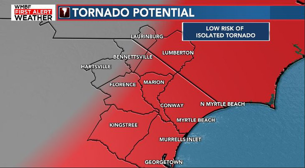 An isolated tornado is possible early Thursday.