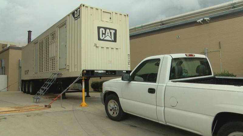 Generator shipped in ahead of Hurricane Dorian sits outside of Grand Strand Medical Center.