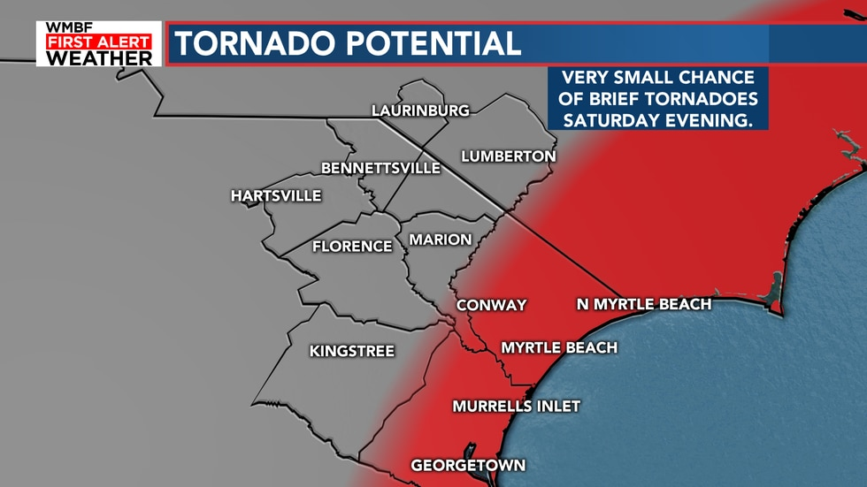 There is still a low risk of tornadoes Saturday night. The best chance is still along the...