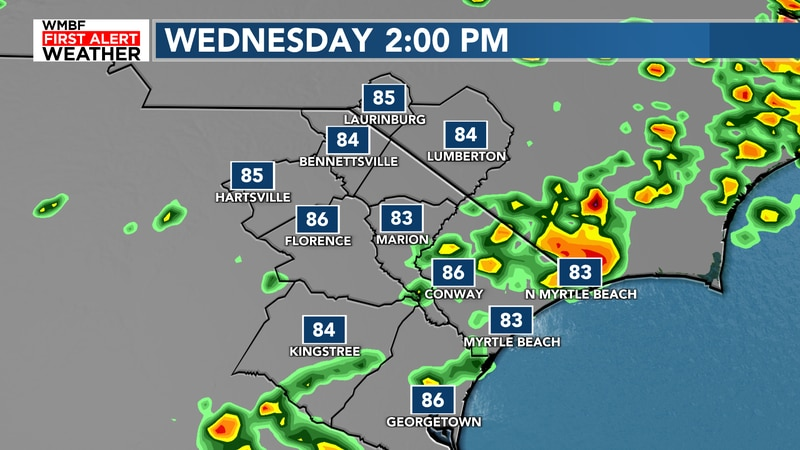 Future radar continues with the scattered showers and storms throughout the day today.