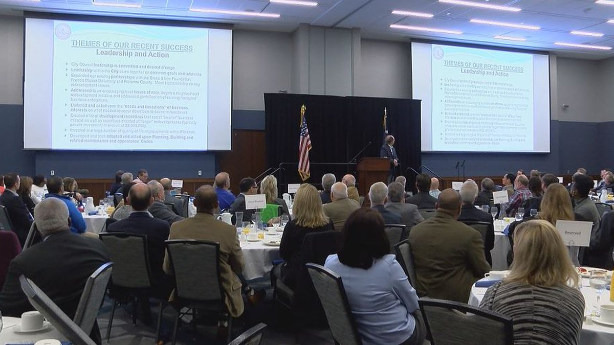 City Manager Drew Griffin is guest speaker at the Florence Chamber of Commerce community...