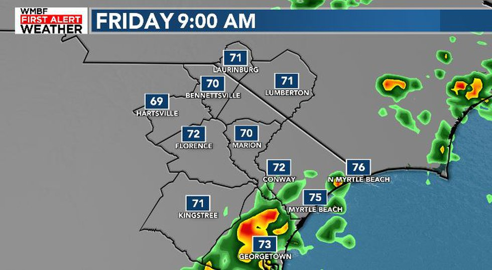 Friday morning showers possible near the coast.