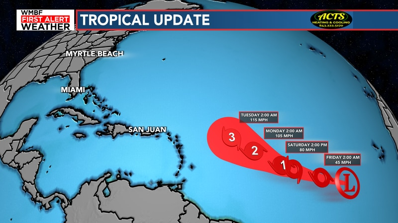Tropical Depression 18 is forecast to become hurricane Sam by Friday.