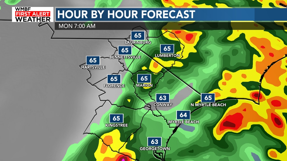 The showers and storms will be at their best chance this morning at 80% for the beaches.