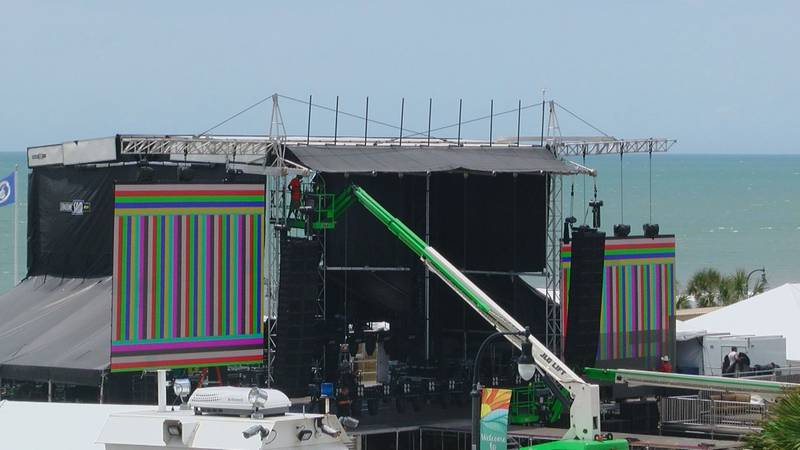 Crews put finishing touches on the main festival stage.