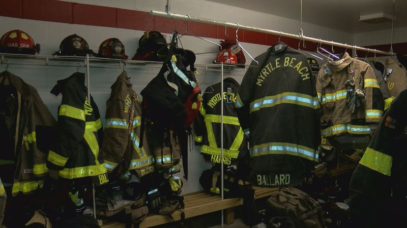 Some of the department's new Lion RedZone firefighter turnout uniforms in black. (Source: WMBF...