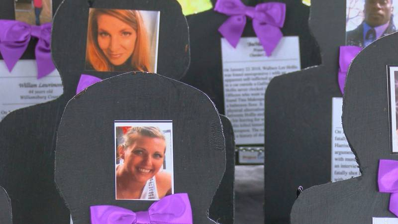 People came together at the 6th Annual domestic Violence Awareness Rally to honor 41 people...