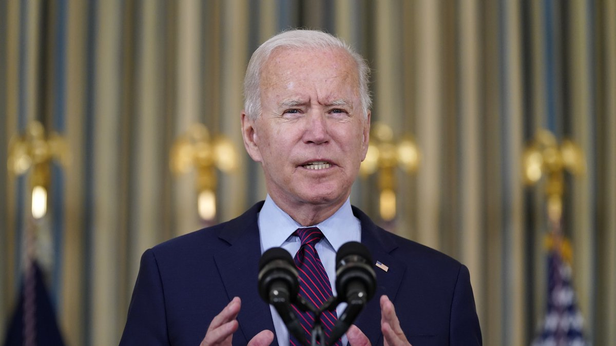 President Joe Biden delivers remarks in the State Dining Room of the White House, Monday, Oct....