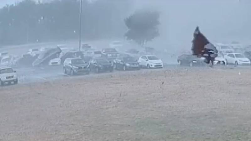 A Loris High School security camera captured footage of a tornado touching down in the parking...